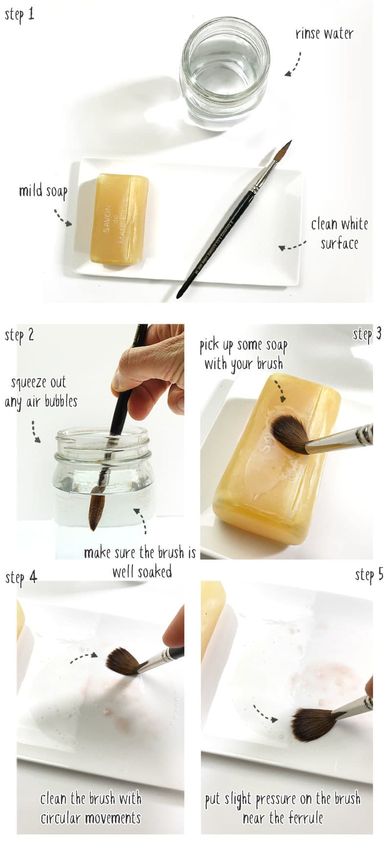 how to clean watercolor brushes step by step