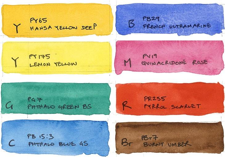 8 color watercolor palette