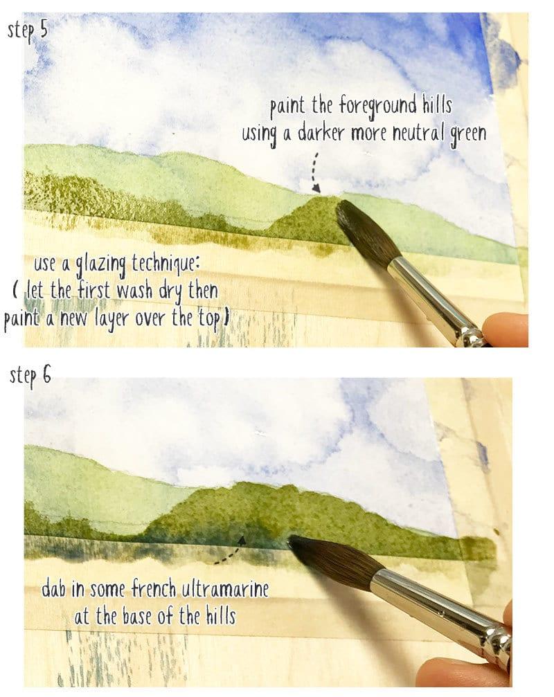 easy watercolor landscape part 2