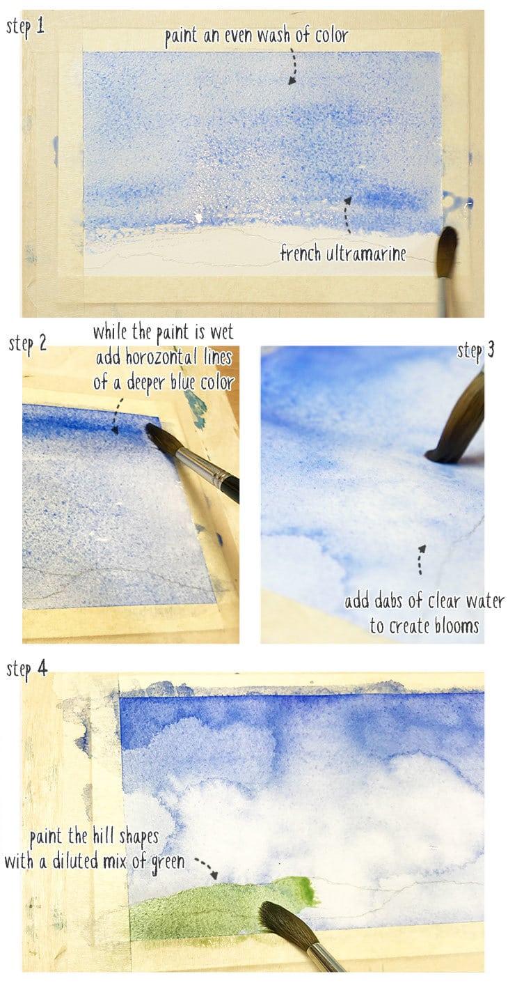 easy watercolor landscape part 1