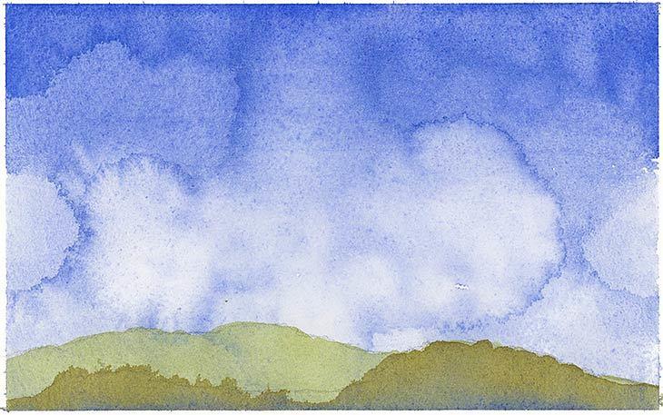 simple watercolor landscape exercise