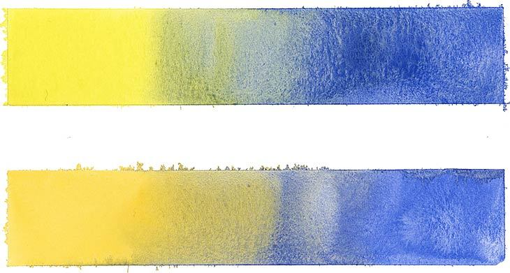 mixing yellow and blue watercolors
