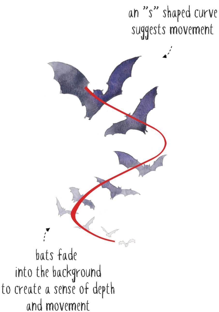 watercolor bats composition