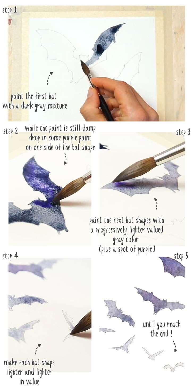 halloween watercolor bat step by step