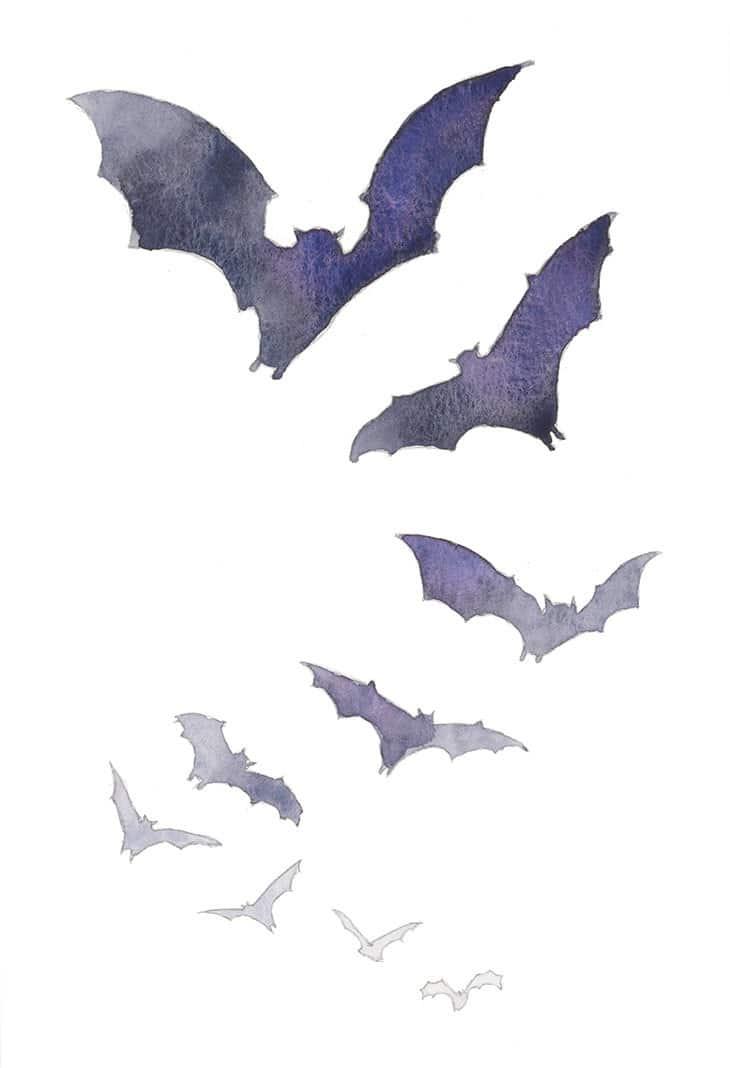 halloween watercolor bats