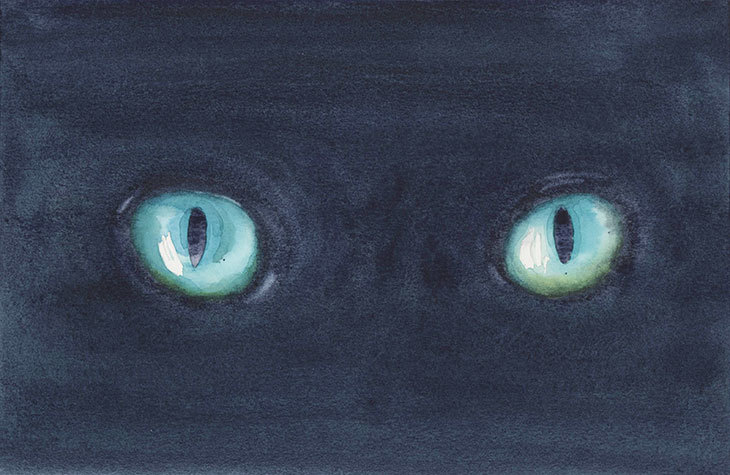 halloween watercolor scary cats eyes