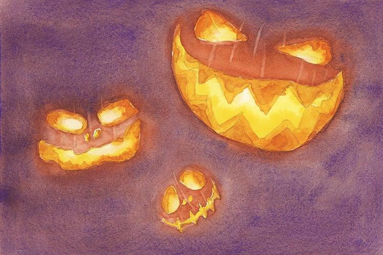jack o lantern watercolor painting idea