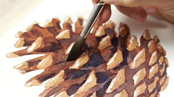 how to paint watercolor pine cones