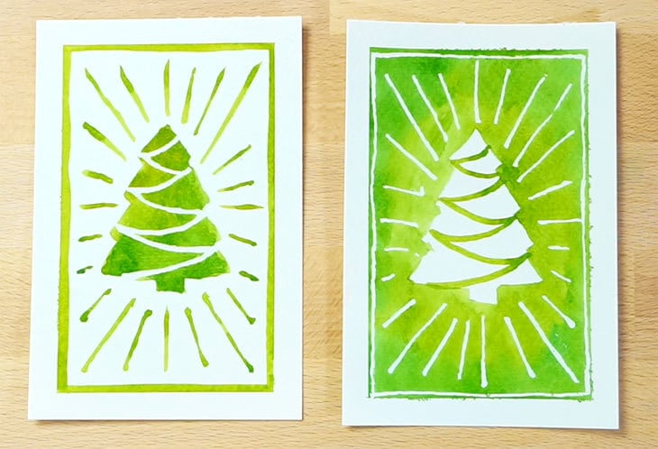 positive and negative christmas tree design