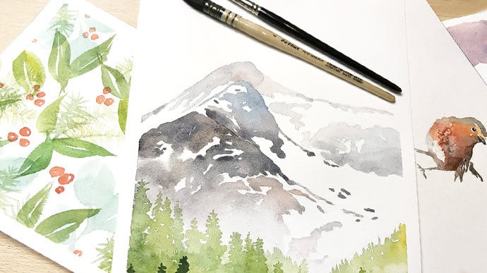 easy winter watercolor painting ideas