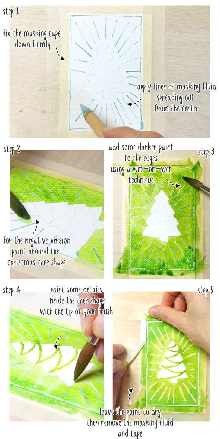 watercolor christmas cards step by step 01