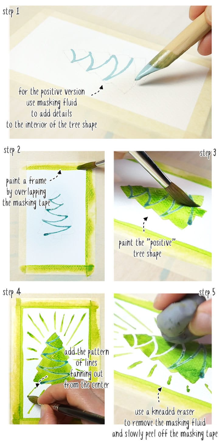 watercolor christmas cards step by step 02