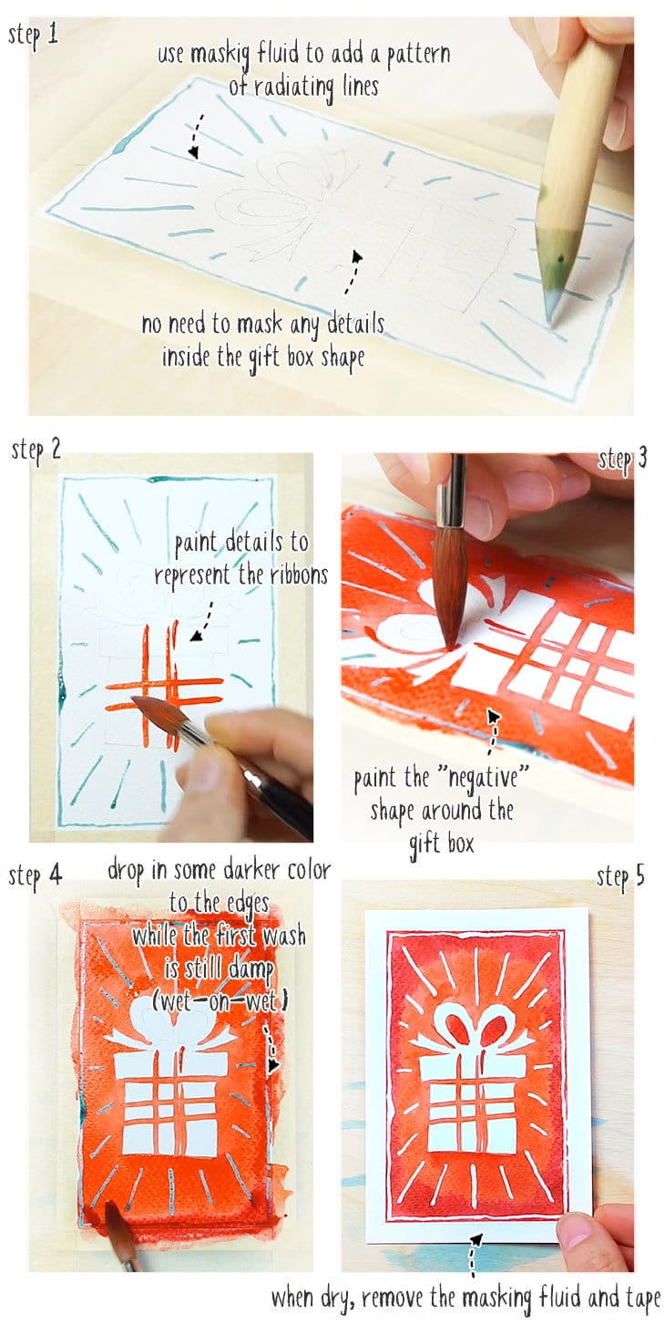 watercolor christmas cards step by step version 03