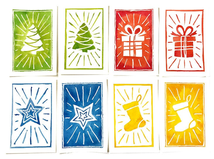 watercolor christmas card designs