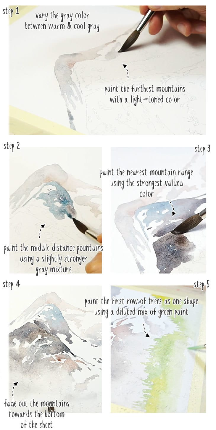 watercolor winter mountains step by step stage 01
