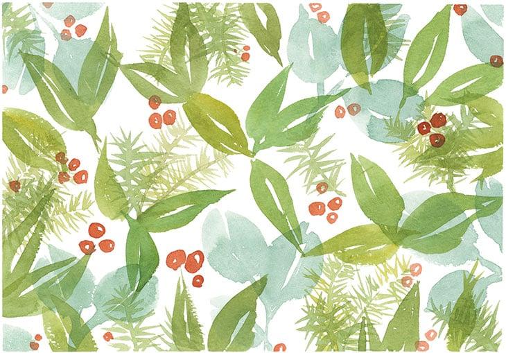 winter leaves and berries watercolor
