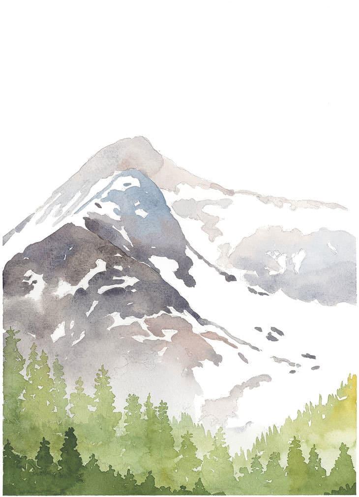 winter mountain watercolor scene