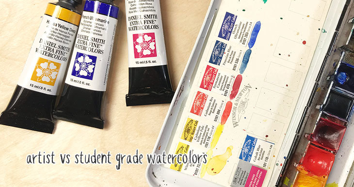artist or student grade watercolor paints