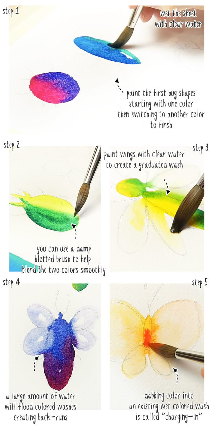 watercolor bugs idea step by step stage 1