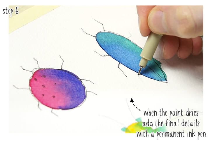 watercolor bugs idea step by step stage 2