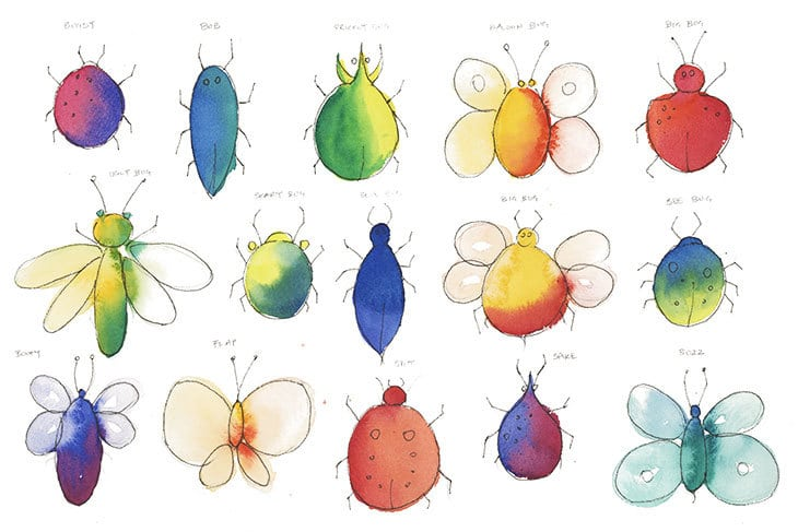 watercolor pen and wash bugs idea