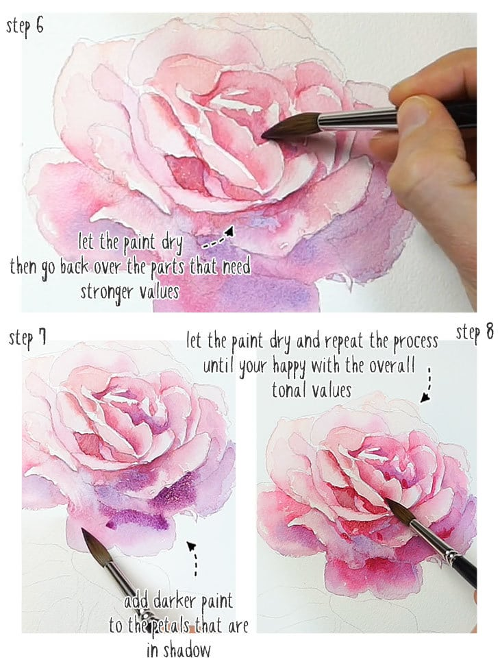 watercolor rose step by step stage 2