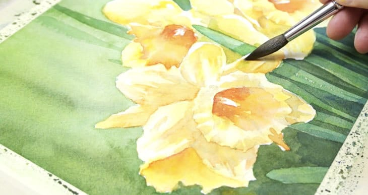 how to paint watercolor daffodils