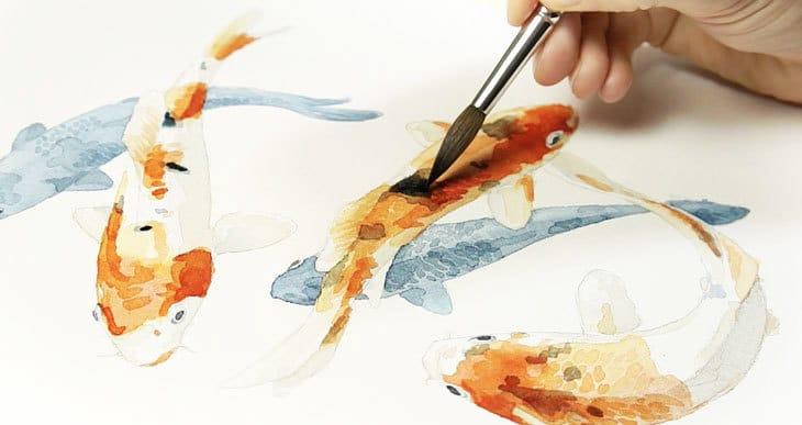 easy watercolor koi fish