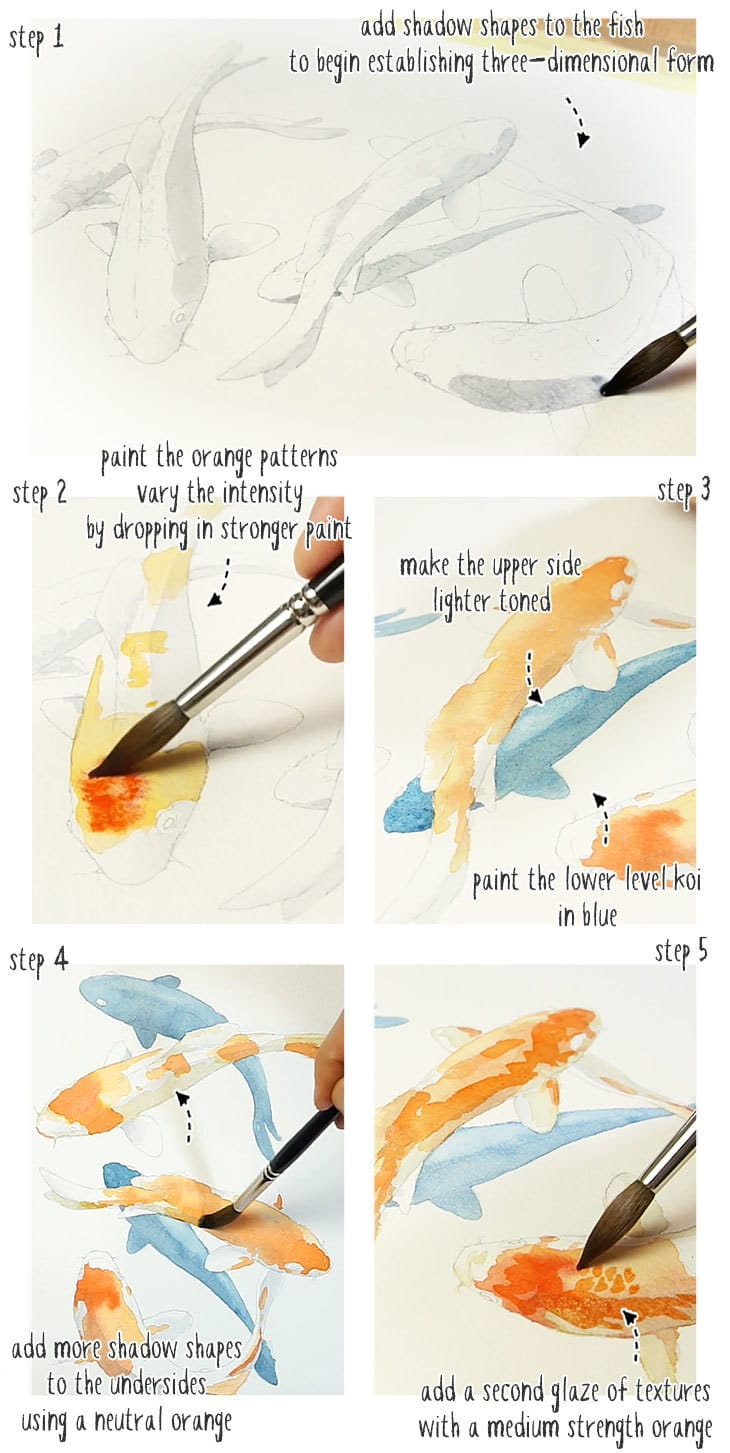 koi fish watercolor step by step stage 01