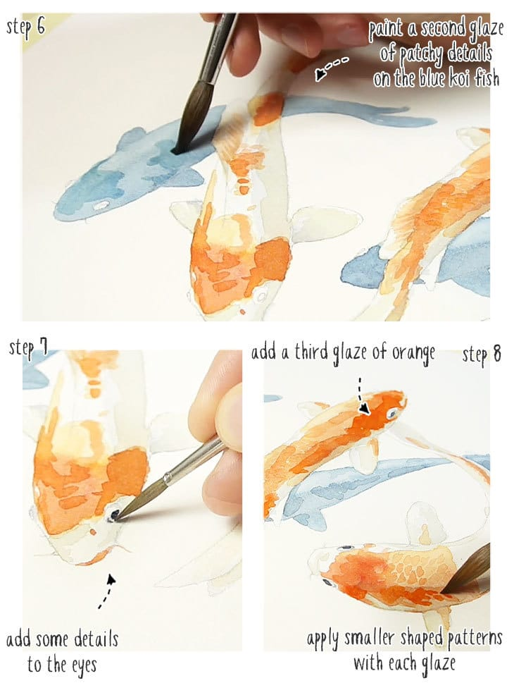 koi fish watercolor step by step stage 2