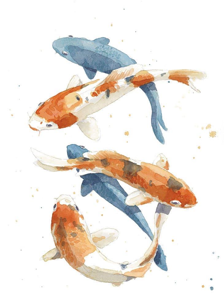 watercolor koi fish painting