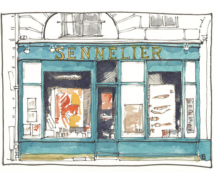 watercolor and pen sketch of the sennelier store